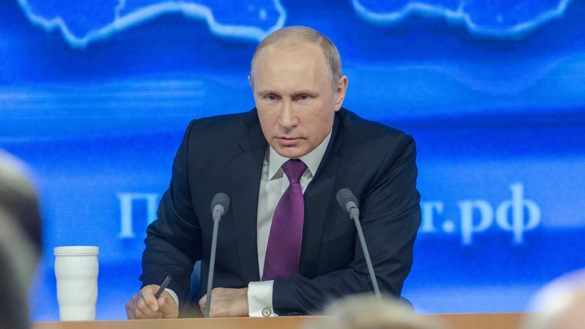 Putin speaks at a press conference